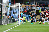 Craig Dawson of West Bromwich Albion (on ground) heads the ball and scores this teams 2nd goal to make it 1-2. Premier League match, Burnley v West Bromwich Albion at Turf Moor in Burnley , Lancs on Saturday 6th May 2017.<br /> pic by Chris Stading, Andrew Orchard sports photography.