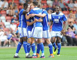 Charlie Lakin of Birmingham City celebrates his goal making it 0-1 - Mandatory by-line: Nizaam Jones/JMP - 21/07/2018 - FOOTBALL - Jonny-Rocks Stadium - Cheltenham, England - Cheltenham Town v Birmingham City - Pre-season friendly