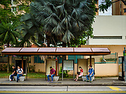 11 DECEMBER 2018 - SINGAPORE: A bus stop with morning commuters in the Geylang neighborhood. The Geylang area of Singapore, between the Central Business District and Changi Airport, was originally coconut plantations and Malay villages. During Singapore's boom the coconut plantations and other farms were pushed out and now the area is a working class community of Malay, Indian and Chinese people. In the 2000s, developers started gentrifying Geylang and new housing estate developments were built.     PHOTO BY JACK KURTZ