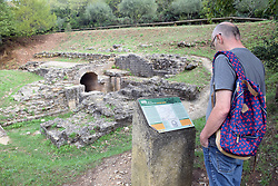Roman ruins at Vallee D'Eure  - remains of acqueduct that passed water down to Pont du Gard, Uzes, Gard, Southern France 2021 MR