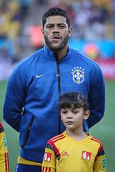 Hulk canta hino nacional na partida entre Brasil x Croácia, na abertura da Copa do Mundo 2014, no Estádio Arena Corinthians, em São Paulo. FOTO: Jefferson Bernardes/ Agência Preview