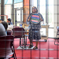 Clarenda Begay explains the history of Navajo shields during a workshop at the Navajo Nation Museum in Window Rock Thursday.