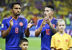 June 25, 2018 - Kazan, Russia - James Rodriguez and Abel Aguilar of Colombia during the 2018 FIFA World Cup Group H match between Poland and Colombia at Kazan Arena in Kazan, Russia on June 24, 2018  (Credit Image: © Andrew Surma/NurPhoto via ZUMA Press)