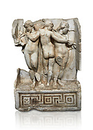 Roman Sebasteion relief  sculpture of the Three Graces, Aphrodisias Museum, Aphrodisias, Turkey.     Against a white background.<br /> <br /> The Three Graces stand in their familiar hellenistic composition. They were handmaids of Aphrodite and appeared in this form on the decoration of her cult statue at Aphrodisias. Their names evoked their character: Euphrosyne (joy), Aglaia (Splendour) and Thaleia (Bloom). .<br /> <br /> If you prefer to buy from our ALAMY STOCK LIBRARY page at https://www.alamy.com/portfolio/paul-williams-funkystock/greco-roman-sculptures.html . Type -    Aphrodisias     - into LOWER SEARCH WITHIN GALLERY box - Refine search by adding a subject, place, background colour, museum etc.<br /> <br /> Visit our ROMAN WORLD PHOTO COLLECTIONS for more photos to download or buy as wall art prints https://funkystock.photoshelter.com/gallery-collection/The-Romans-Art-Artefacts-Antiquities-Historic-Sites-Pictures-Images/C0000r2uLJJo9_s0