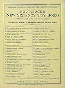 Advertising Routledge's New Sixpenny Toy Books beautifully printed in Colour on the back cover of ' Blueneard ' by Walter Crane, Edmund Evans, Published in London & New York by George Routledge and Sons in 1873