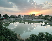 Sunset view over the Ratan Singh Palace inside the famous Chittaurgarh Fort.