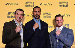 Richie Woodhall, Rio Ferdinand and Mel Deane during the press conference at York Hall, London.