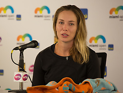 March 28, 2018 - Key Biscayne, Florida, United States - Danielle Collis, from the USA, talking to the media at the press conference after defeating Venus Williams for the quarter finals a the Miami Open in Miami, on March 28, 2018. (Credit Image: © Manuel Mazzanti/NurPhoto via ZUMA Press)