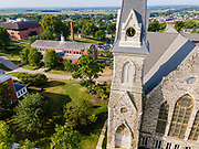 Aerial photograph of the campus of Cornell College, Mt. Vernon, Iowa, USA, on a beautiful, sunnry morning.