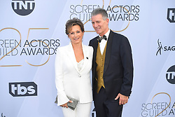January 27, 2019 - Los Angeles, California, U.S - GABRIELLE CARTERIS AND CHARLES ISAACS during silver carpet arrivals for the 25th Annual Screen Actors Guild Awards, held at The Shrine Expo Hall. (Credit Image: © Kevin Sullivan via ZUMA Wire)