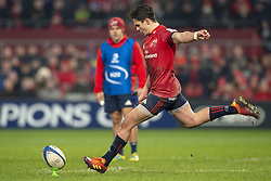 January 19, 2019 - Limerick, Ireland - Joey Carbery of Munster kicks a penalty during the Heineken Champions Cup match between Munster Rugby and Exeter Chiefs at Thomond Park in Limerick, Ireland on January 19, 2019  (Credit Image: © Andrew Surma/NurPhoto via ZUMA Press)