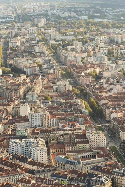 Grenoble city seen from Bastille, a former fortress, Grenoble, France