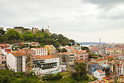 Lisbon seen from Graça lookout. Saint George's Castle is spoted on the left of the image on the top of one of Lisbon's seven hills.