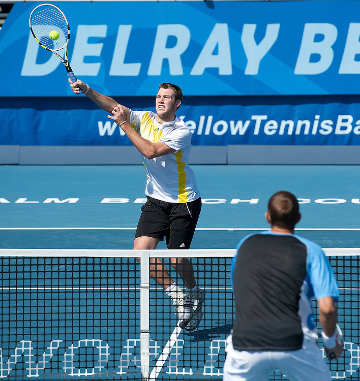 Jack Sock (USA) in action with his partner James Blake (USA) during their victory over Max Mirnyi (BLR) and Horia Tecau (ROU) in the Final match today - James Blake (USA) and Jack Sock (USA) def Max Mirnyi (BLR) and Horia Tecau (ROU) 6-4 6-4..ATP 250 Tennis - 2012 Delray Beach International Tennis Championships - Day 7 -  Sunday 3rd March 2013 - Delray Beach Stadium & Tennis Center - Delray Beach - Florida - USA..© CameraSport - 43 Linden Ave. Countesthorpe. Leicester. England. LE8 5PG - Tel: +44 (0) 116 277 4147 - admin@camerasport.com - www.camerasport.com