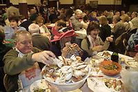 Crab feed during Wine and Crab days, Mendocino, CA.  Digital capture.  © John Birchard