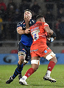 Sale Sharks flanker Jono Ross is handed off by Leicester Tigers No. 8 Ifereimi Boladau during a Gallagher Premiership Rugby Union match, Sale Sharks -V- Leicester Tigers, Friday, Feb. 21, 2020, in Eccles, United Kingdom. (Steve Flynn/Image of Sport via AP)