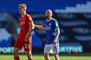 Nottingham Forest's Ryan Yates (22) with Cardiff City's Jonny Williams (15) during the EFL Sky Bet Championship match between Cardiff City and Nottingham Forest at the Cardiff City Stadium, Cardiff, Wales on 2 April 2021.