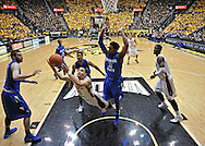 WICHITA, KS - JANUARY 18:  Guard Fred VanVleet #23 of the Wichita State Shockers puts up a diving shot against Devonte Brown #11 of the Indiana State Sycamores during the second half on January 18, 2014 at Charles Koch Arena in Wichita, Kansas.  (Photo by Peter G. Aiken/Getty Images) *** Local Caption *** Fred VanVleet;Devonte Brown