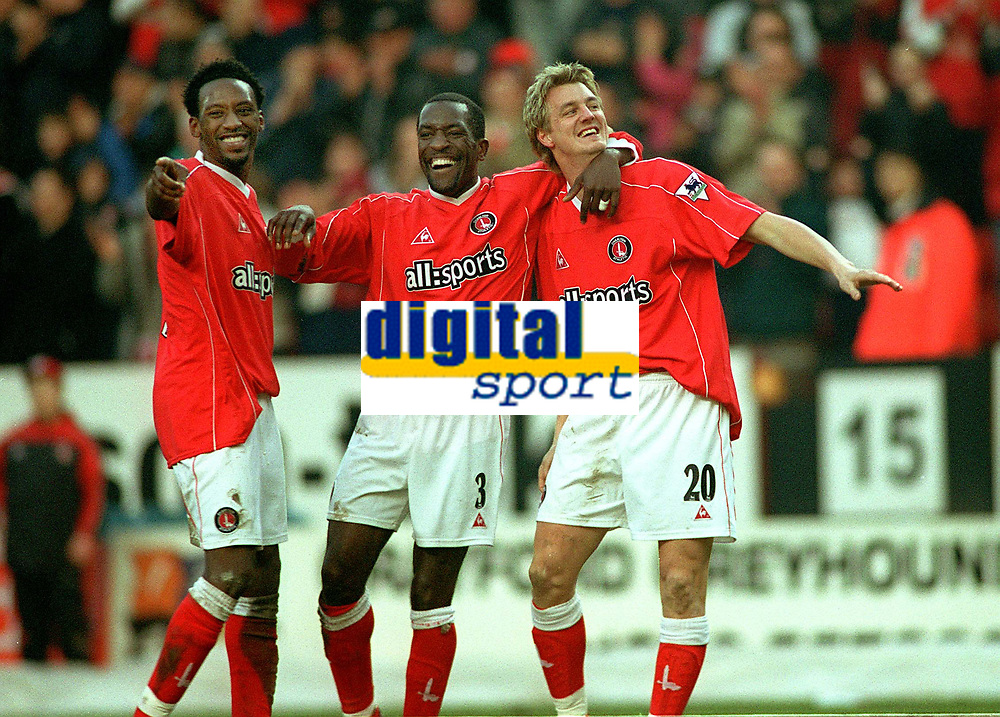 Mathias Svensson (Charlton) celebrates goal no.3 with Chris Powell (Centre) and Jason Euell (left). Charlton Athletic v Aston Villa. 22/2/2003. Credit : Colorsport/Andrew Cowie.