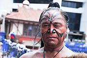 New Zealand, North Island, Rotorua, Maori native man with tattoos and body paint
