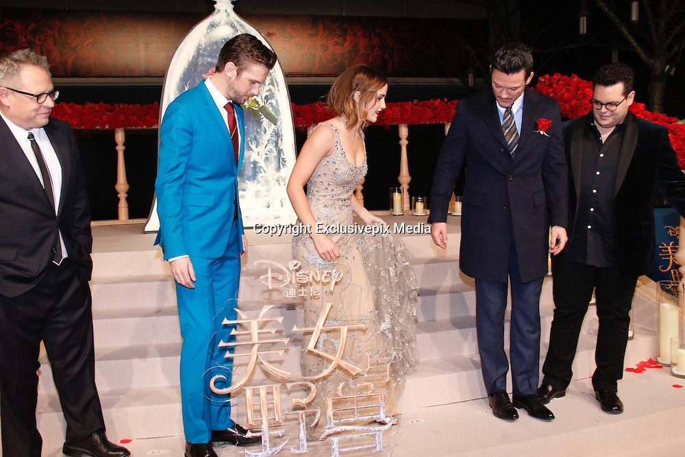 """SHANGHAI, CHINA - FEBRUARY 27: <br /> <br />  (L-R) American director Bill Condon, British actor Dan Stevens, British actress Emma Watson, Welsh actor and singer Luke Evans, American actor and comedian Josh Gad attend the premiere of \'s film \""""Beauty and the Beast\"""" at Walt Disney Theatre on February 27, 2017 in Shanghai, China. <br /> ©Exclusivepix Media"""
