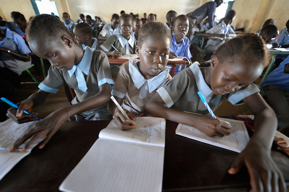 Girl students in class at the John Paul II School in Wau, South Sudan.