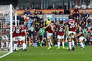Sean Raggett of Lincoln City reels away to celebrate after scoring his teams 1st goal. The Emirates FA cup 5th round match, Burnley v Lincoln City at Turf Moor in Burnley, Lancs on Saturday 18th February 2017.<br /> pic by Chris Stading, Andrew Orchard Sports Photography.