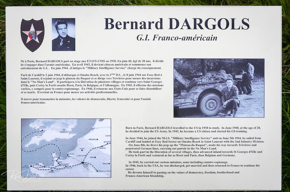 WWII memorial to G.I. Bernard Dargols on Omaha Beach, Normandy, France