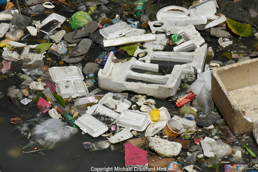 Plastic and Rubbish in a river in the Philippines