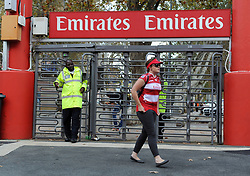 10/03/2018 A woman supporter walks past security where the Gauteng Lions vs the Auckland Blues played at Emirates Airlines Park, Ellis Park, Johannesburg, South Africa. Picture: Karen Sandison/African News Agency (ANA)