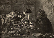 David Copperfield, the eponymous hero of the novel, sits writing the works that make him famous by the light of an oil lamp.  His young, empty headed wife, Dora and her pet dog keep him company.  The novel 'David Copperfield' by Charles Dickens was originally published in 1849-1850.  Illustration by Frederick Barnard (1846-1896) for the Dickens Household Edition (London, 1871-1879). Wood engraving.