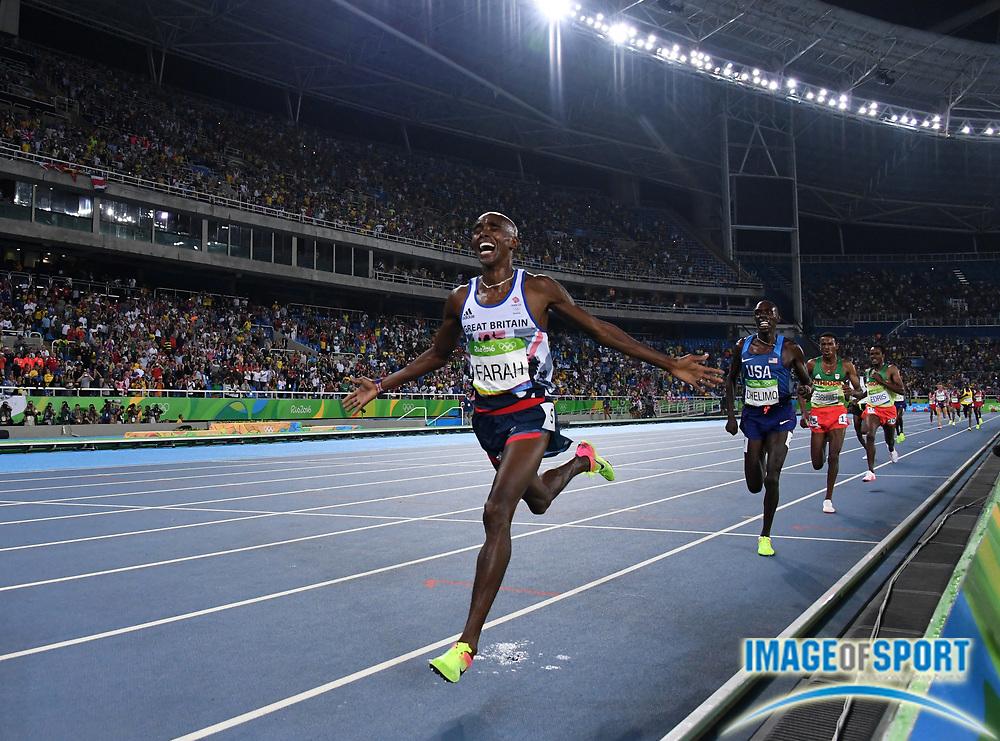 Aug 20, 2016; Rio de Janeiro, Brazil; Mo Farah aka Mohamed Farah (GBR) celebrates after winning the 5,000m in 13:03.30 during the 2016 Rio Olympics at Estadio Olimpico Joao Havelange. <br /> <br /> *