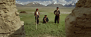Wakhis from Sarhad at Andemin winter camp. Each summer, quite a few Wakhis walk to the Little Pamir to look for work. A lot of them are unsuccessful... but these ones were eventually hired by Kyrgyz for their skills at building mud and stone walls. They build winter house and corrals to keep the livestock at night.<br /> <br /> Adventure through the Afghan Pamir mountains, among the Afghan Kyrgyz and into Pakistan's Karakoram mountains. July/August 2005. Afghanistan / Pakistan.
