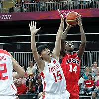 05 August 2012: USA Tina Charles takes a jumpshot over China Nan Chen during 114-66 Team USA victory over Team China, during the women's basketball preliminary, at the Basketball Arena, in London, Great Britain.
