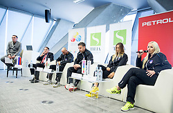 Gasper Bolhar, Mark Umberger, Andrej Krasevec, Zoran Kofol, Polona Hercog and Tadeja Majeric during press conference of Slovenian women Tennis team before Fed Cup tournament in Tallinn, Estonia, on January 28, 2015 in Kristalna palaca, Ljubljana, Slovenia. Photo by Vid Ponikvar / Sportida