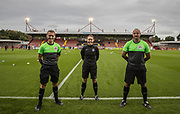 Marcus Carmichael (Assistant Referee), Rebecca Walsh (Referee) & Jade Wardle (Assistant Referee) ahead of the Women's FA Cup match between Brighton and Hove Albion Women and Birmingham City Women at The People's Pension Stadium, Crawley, England on 27 September 2020.