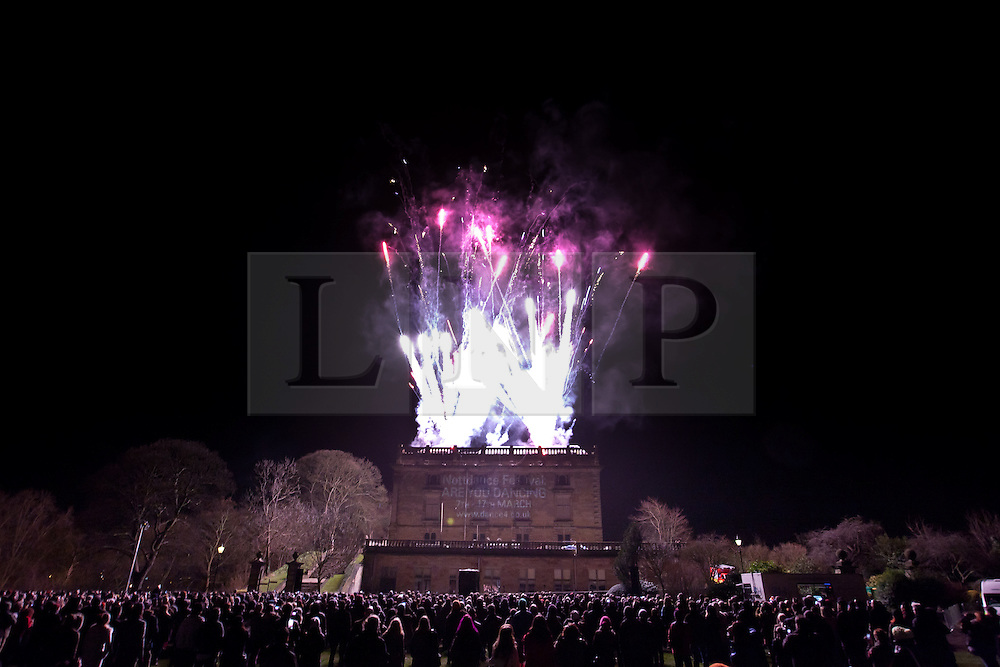 © Licensed to London News Pictures. 08/02/2013. Nottingham, UK. The public view light installations and pyrotechnic displays at Nottingham light night . Photo credit : Tom Maddick/LNP