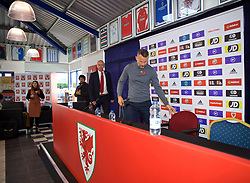 BRIDGEND, WALES - Tuesday, November 5, 2019: Wales manager Ryan Giggs arrives for a press conference at Nathaniel Cars in Bridgend to announce his squad for the final UEFA Euro 2020 Qualifying Group E qualifying matches against Azerbaijan and Hungary. (Pic by David Rawcliffe/Propaganda)