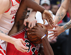 November 3, 2018 - Chicago, IL, USA - Chicago Bulls forward Wendell Carter Jr. (34) gets a hand to the face in the third quarter against the Houston Rockets at the United Center Saturday, Nov. 3, 2018, in Chicago. The Rockets beat the Bulls 96-88. (Credit Image: © John J. Kim/Chicago Tribune/TNS via ZUMA Wire)