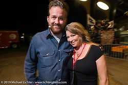 Bobby Seeger Jr and Carrie Repp at the 20th Anniversary party for the Destination Harley-Davidson dealership in Ormond Beach, FL during Daytona Bike Week. FL, USA. March 10, 2014.  Photography ©2014 Michael Lichter.