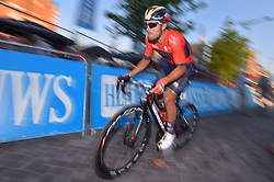 August 3, 2018 - Putte, BELGIUM - Italian Sonny Colbrelli of Bahrain-Merida pictured in action during the one lap time trial at the 3rd edition of the 'Natourcriterium Putte' cycling event, Friday 03 August 2018 in Putte. The contest is a part of the traditional 'criteriums', local races in which mainly cyclists who rode the Tour de France compete. BELGA PHOTO LUC CLAESSEN (Credit Image: © Luc Claessen/Belga via ZUMA Press)
