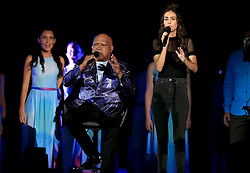 Archie Roach (left) and Amy Shark perform during the Closing Ceremony for the 2018 Commonwealth Games at the Carrara Stadium in the Gold Coast, Australia.