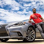 Portrait of Vitor Oliveira and his Lexus IS 350 F-sport.(photo by Leonardo Carrizo)