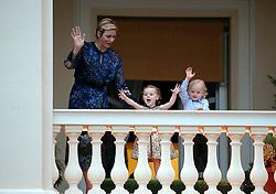 Princess Charlene on balcony with twins. 26 June 2017