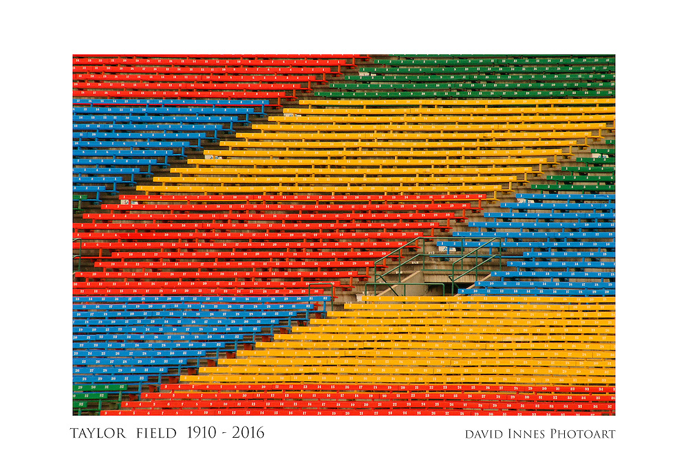 """10"""" x 15"""" Commemorative photograph showing red, yellow, blue, and green bleachers, east side stands, Taylor Field at Mosaic Stadium, Regina Saskatchewan, home of the Saskatchewan Roughriders, 1910 to 2016"""
