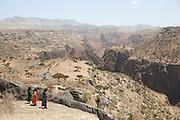 Local children at the mountainous landscape of Dixsam, Socotra, Yemen