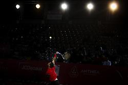 May 3, 2018 - Estoril, Portugal - Ricardo Ojeda Lara serves to Nicolas Jarry during the Millennium Estoril Open tennis tournament in Estoril, outskirts of Lisbon, Portugal on May 1, 2018  (Credit Image: © Carlos Costa/NurPhoto via ZUMA Press)