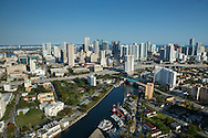 Aerial view of the Miami River and downtown Miami in the afternoon
