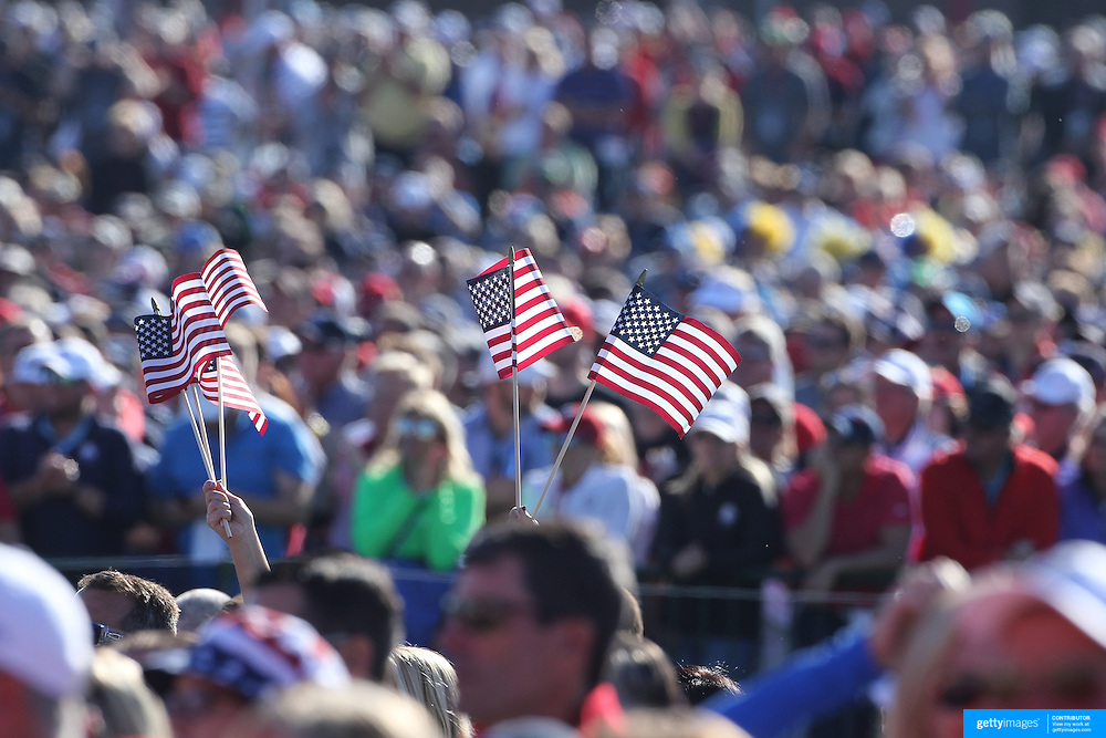 Ryder Cup 2016. United States supporters during the Ryder Cup opening ceremony at the Hazeltine National Golf Club on September 29, 2016 in Chaska, Minnesota.  (Photo by Tim Clayton/Corbis via Getty Images)