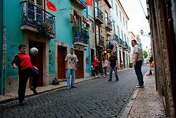 PORTUGAL LISBON 8OCT06 - Local Portuguese boys play a ballgame in Bairro Alto, Lisbon.. . jre/Photo by Jiri Rezac. . © Jiri Rezac 2006. . Contact: +44 (0) 7050 110 417. Mobile:  +44 (0) 7801 337 683. Office:  +44 (0) 20 8968 9635. . Email:   jiri@jirirezac.com. Web:    www.jirirezac.com. . © All images Jiri Rezac 2006 - All rights reserved.